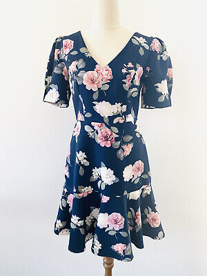 AU39.95 • Buy Forever New Fit Flare Dress Size 8 Navy Floral Short Sleeve V Neck NEW Races