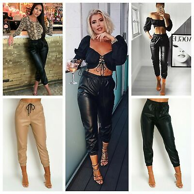 PU Faux Leather Cuffed Joggers Trousers Drawstring Waist Cropped Cargo Pants  • 4.95£