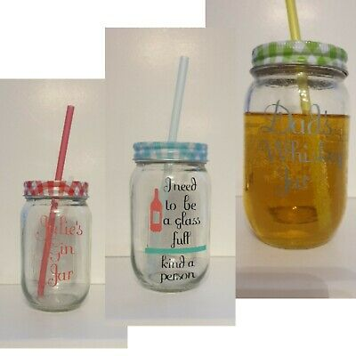 Personalised Drinking Jars With Lid And Straw Whisky Glass Wine Glass, Mason Jar • 5.50£