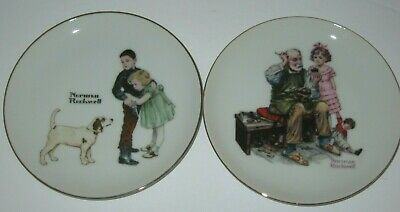 $ CDN10.66 • Buy Norman Rockwell The Cobbler & Big Brother Collector Plates Pair Japan