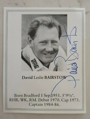 AU40 • Buy David Bairstow Signed Book Plate Pen Picture England West Indies Cricket