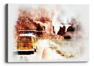 £23.99 • Buy Travel Camper Van Watercolour Canvas Wall Art Picture Home Decor