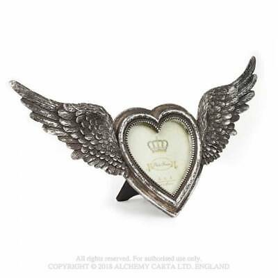 Alchemy Winged Heart Photo Picture Frame, Silver Colour, Gothic, Wings • 20.95£
