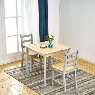 £59.99 • Buy 2 Seater Solid Wooden Grey Dining Table And 2 Chairs Set Kitchen Room Home Cafes