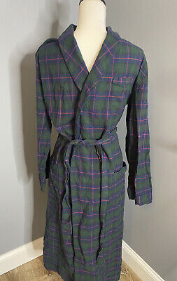 $33.02 • Buy Brooks Brothers 1818 100% Cotton Navy Blue Green Plaid Flannel Robe Men's Sz S