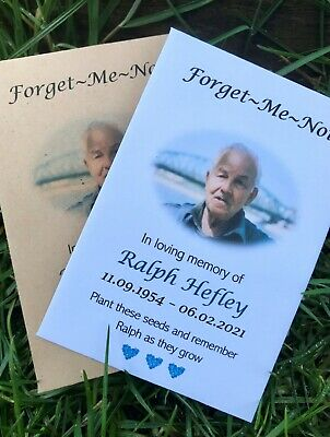 £5.45 • Buy 10 Personalised Photo Forget Me Not Funeral Favours Seed Packets Remembrance