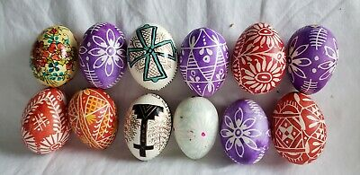 £40.02 • Buy Czechoslovakia ~ Real Blown Eggs ~ Hand Painted Designs ~ Set Of 12