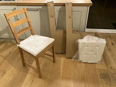 Jokkmokk IKEA Chairs X2 - Brand New In Box, Plus New Justina Chair Pads Natural • 37£