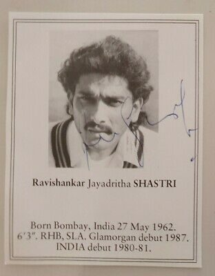 AU15 • Buy Ravi Shastri Signed Book Plate Pen Picture England India Cricket