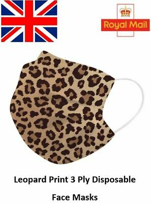 Leopard Pattern Disposable Face Masks 3 Ply Surgical Breathable Face Covers • 5.49£