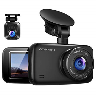 AU177.89 • Buy APEMAN 1440P&1080P Dual Dash Cam Full HD Front And Rear Camera For Cars, Driving