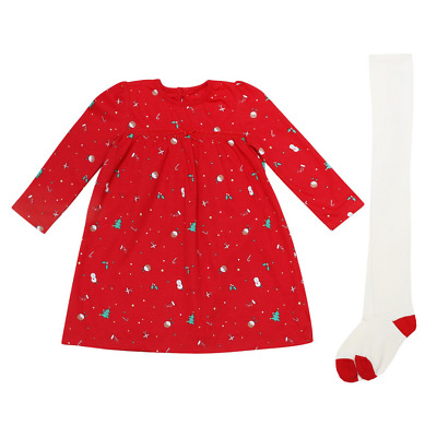£5.49 • Buy Christmas Baby Girls Dress With Tights Ex George Outfit Set Xmas Eve Red Cute