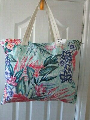 Large Bright Floral Cotton Canvas Zip Top Bag With Embroidery Flowers 22  X 18  • 7.50£