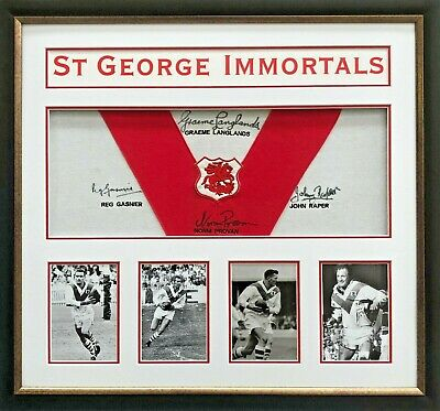 AU799 • Buy St George Dragons Rugby League Immortals Signed Jersey Tribute Framed With COA