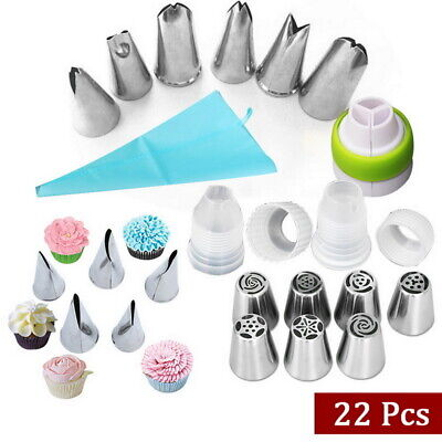 UK 22pcs Russian Leaf Flower Icing Piping Nozzle Tips Cake Topper Baking Tools • 7.99£