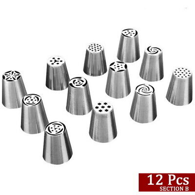 UK 12pcs Russian Leaf Flower Icing Piping Nozzle Tips Cake Topper Baking Tools • 7.39£