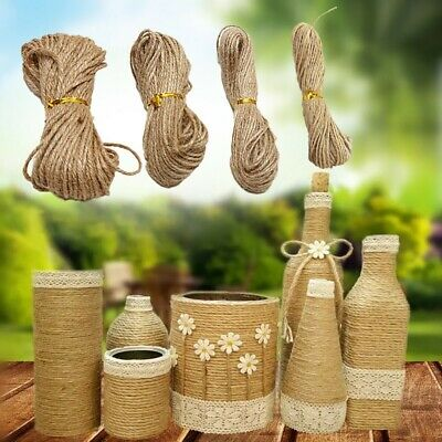 New Natural Brown Jute Burlap Hemp Twine String Cord Rope For Arts Craft HOT • 3.23£