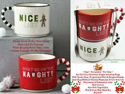 £11.99 • Buy 🎁 Next 2 Pack Stacking Slogan Kids Cups Candy Cane Gingerbread Man Penguin Red
