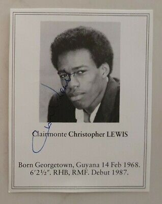 AU10 • Buy Chris Lewis Signed Book Plate Pen Picture England West Indies Cricket