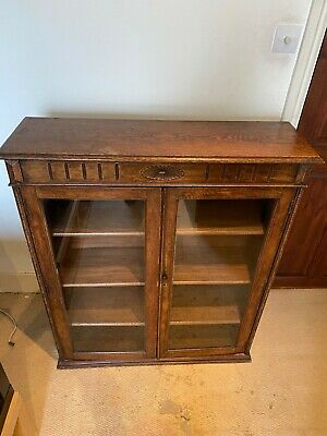 £150 • Buy Antique Oak Cabinet With Glass Doors, 3 Shelves Brass Locking Bolts And Key Lock