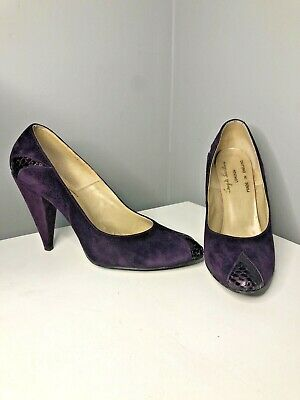 Vintage 80s Pair Of Original Terry De Havilland Purple Suede Shoes Heel 5 1/2 • 44.99£