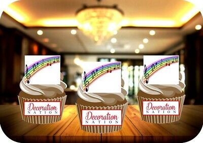 £2.99 • Buy Rainbow Musical Notes 12 Edible STANDUP Cake Toppers Decoration Birthday Music