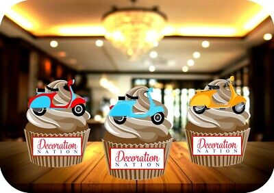 £2.99 • Buy Vespa Scooter Mix 12 Edible STANDUP Cake Toppers Decoration Birthday Italian Fun