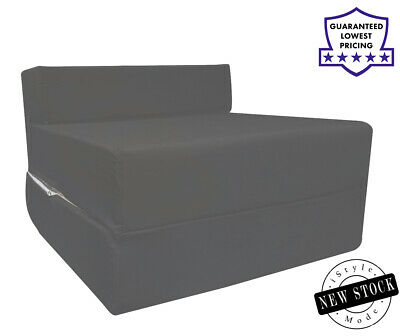 £37.99 • Buy Cotton Twill Z Bed Single Fold Out Chairbed Chair Foam Folding Guest Sofa DKGrey