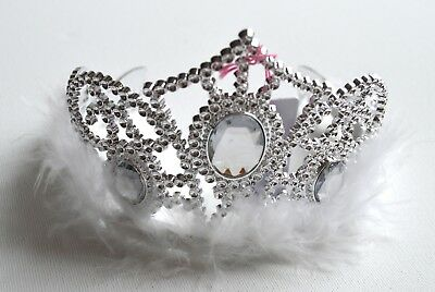 NEW Plastic Silver Childrens White Oval Jewel Tiara Hair Accessory Party Prom  • 4.99£