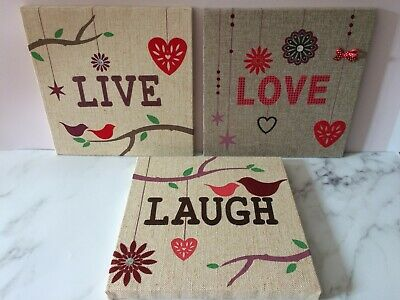 Live Love Laugh Wall Hangings Art Pictures Canvas Lockdown Mothers Day • 4.99£