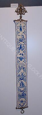 Antique Embroidered Blue Delft Bell Pull Cord Nice Hardware • 50.07£