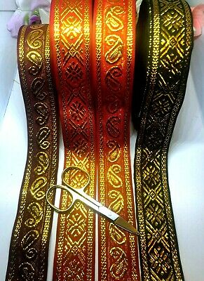 A2) 2 Meter Metallic Ribbon Sewing Craft Trimming Haberdashery Embellishment • 1.99£