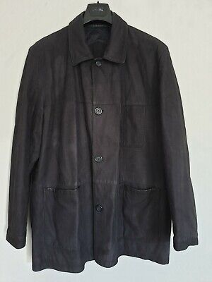 $225.61 • Buy Burberry Leather Jacket Mens Dark Blueberry Colour Reefer Style Very Rare L / XL