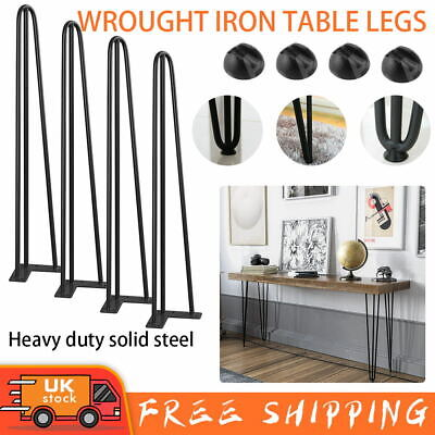 4 X Premium Hairpin Table Legs Desk Bench FREE Screws AND Protector Feet Steel • 15.99£