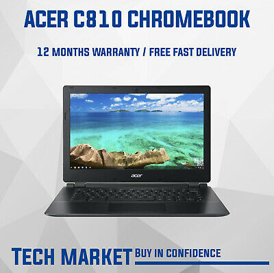 Acer Chromebook C810 13.3  Black With Chrome Os Webcam Hdmi Notebook Refurbished • 149.99£