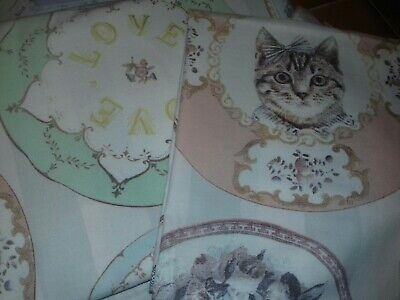 Love And Cats Single Reversible Single Duvet Cover + 1 Pillow Case Pastels • 3£