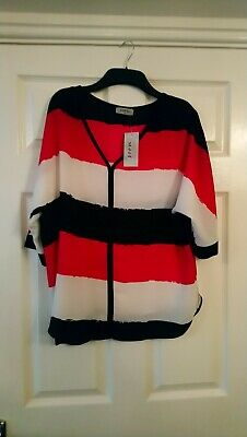 Ladies Matalan Soon Oversized Top Size UK12 BNWT Blk/Pink/White Stripes  • 5£