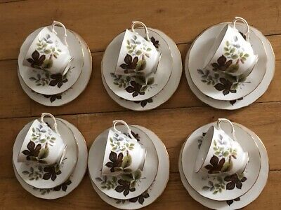Vintage GAINSBOROUGH Bone China TEA Cups&Saucers&Plates Set Of 6 TRIOS • 29.99£