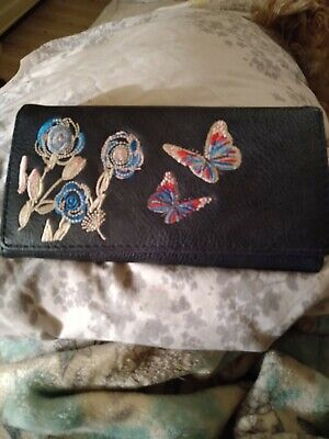 Lovely Embroidered Owl Design Purse Blue • 3£