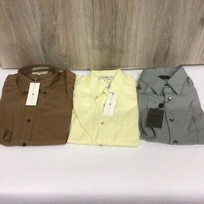 $35 • Buy Mens Long Sleeve Button Down Lot Of 3 Dress Shirts Size M V103