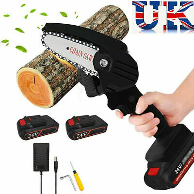 Mini Electric Chainsaw Rechargeable 24V With 2 Batteries Chain Saw READ DISCR • 61.99£