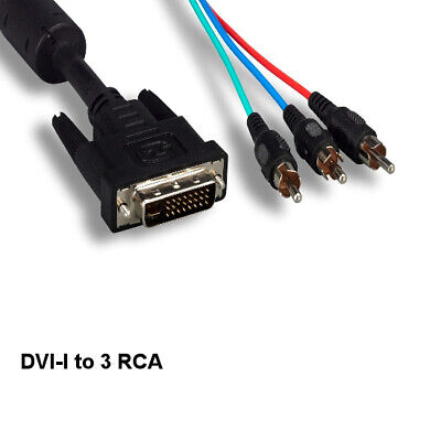 £13.47 • Buy 6' DVI-I 24+5 To 3RCA Component Video Cable Male/Male Digital/Analog Dual Link