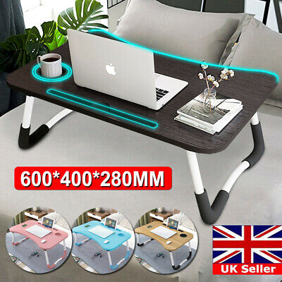 Portable Folding Laptop Bed Tray Table Lap Desk Notebook Breakfast Cup Slot Home • 14.49£