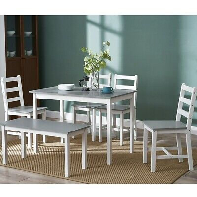 £159.99 • Buy Solid Wooden Dining Table And 4 Chairs Bench Set Home Kitchen Furniture Optional