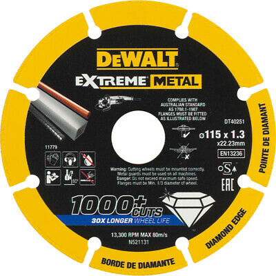 AU26.89 • Buy DeWALT Extreme Diamond Blade For Cutting Metal 115mm 4.5  Inch Steel Stainless