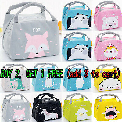 Women Kids Portable Insulated School Lunch Bag Picnic Tote Thermal Box Case Gift • 7.29£