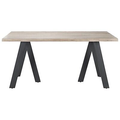 Wooden Rustic Dining Table Washed Grey Oak Effect 6 Metal Legs • 244.99£
