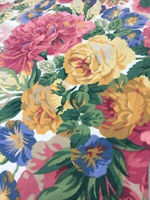 Vintage Sanderson 'Rose And Peony' Cotton Furnishing Fabric Remnant Sewing • 4.19£