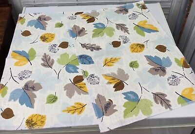 2 X Cath Kidston Leaves Furnishing Duck Cotton Sample Remnants Crafts Retro • 3.99£