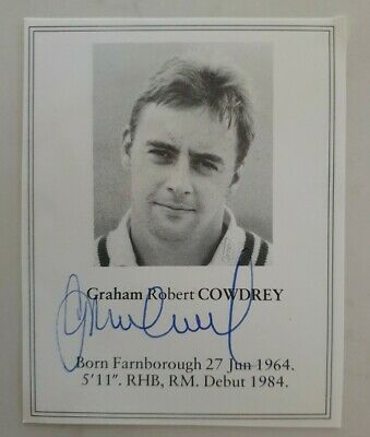 AU25 • Buy Graham Cowdrey Signed Book Plate Pen Picture England West Indies Cricket